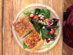 Tina's Italian Cafe Chicken Salad Sandwich on Foccocia Bread with a Summer Salad